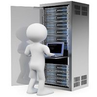 3d white people. Engineer in rack network server room working with a laptop. Isolated white background.